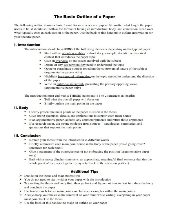 Research Paper Outline Template (PDF)