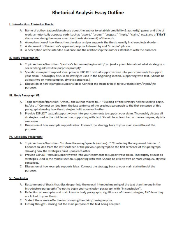 Rhetorical Analysis Essay Outline Template (PDF)
