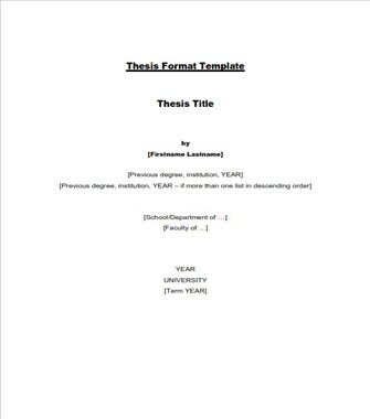 Thesis Format Template (PDF)