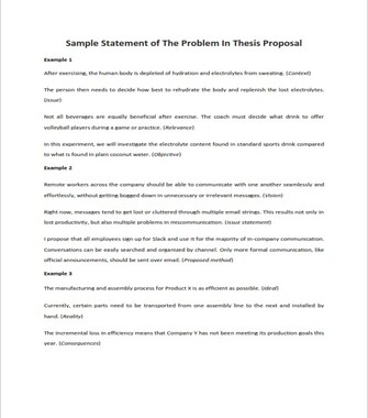 Sample Statement of The Problem In Thesis Proposal (PDF)