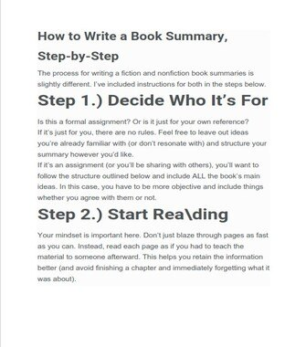 How to Write a Summary of a Book - Example