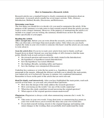How to Write a Summary of a Research Paper - Example