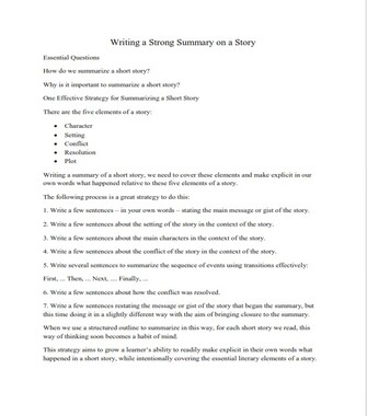 How to Write a Summary of a Story - Example