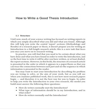 How to Write a Good Thesis Introduction – Examples  (PDF)