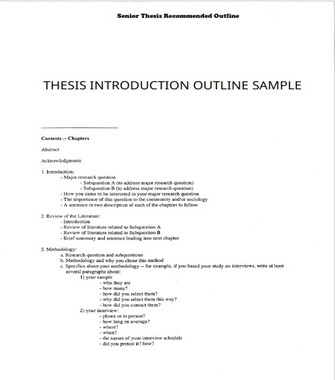Thesis Introduction Outline Sample (PDF)