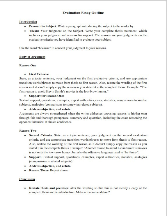Evaluation Essay Outline