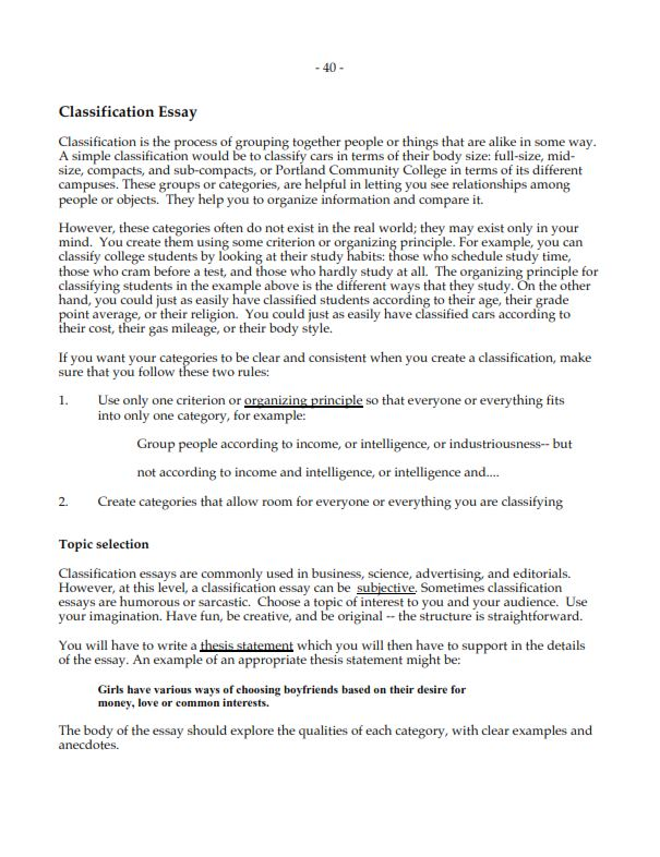 Classification Essay Sample (PDF)