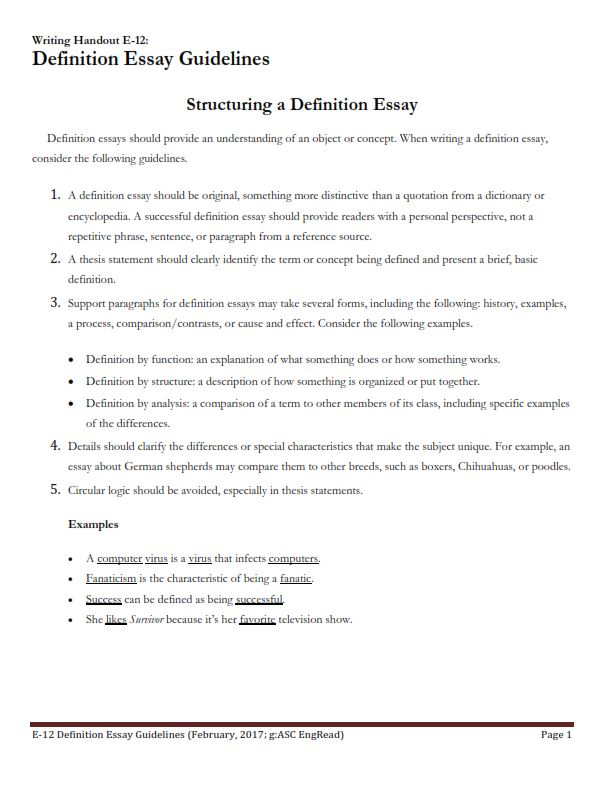 Definition Essay Example With Guidelines (PDF)