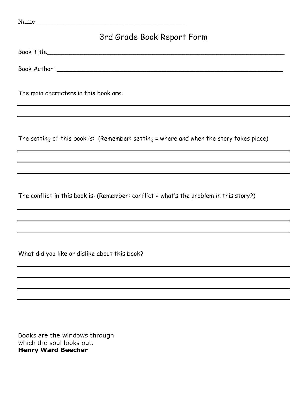 3rd grade book report template