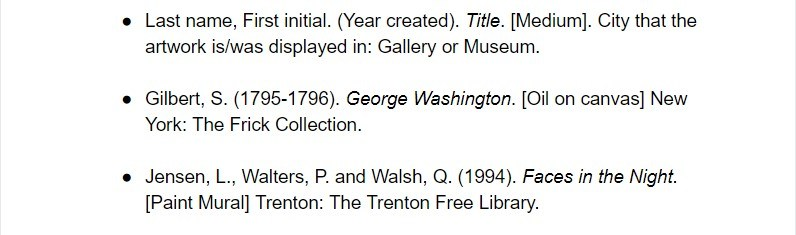 harvard citation for artwork examples