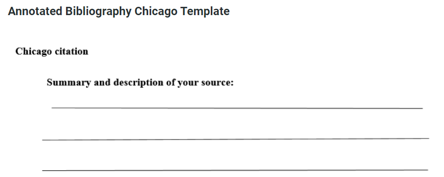 Chicago style annotated bibliography template
