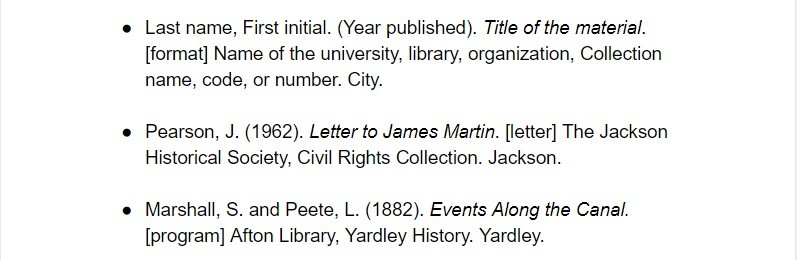 harvard citation for archived content examples