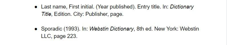 harvard citation for dictionary entry examples