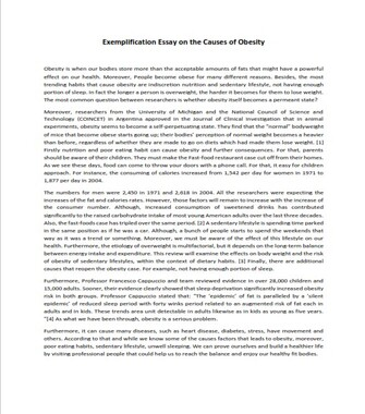 Exemplification Essay on Obesity