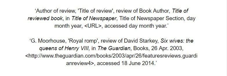 oxford referencing for a review in a periodical bibliography examples