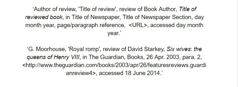 oxford referencing for a review in a periodical footnote examples