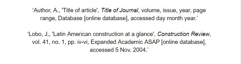 oxford referencing for online database article bibliography examples