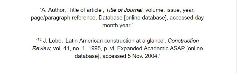 oxford referencing for online database article footnote examples