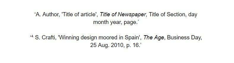 oxford referencing for print newspaper article footnote examples