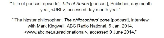 oxford referencing podcast and audio file footnote examples