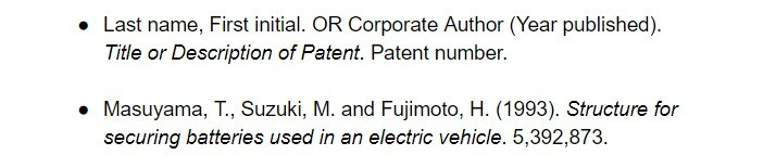 harvard citation for patent examples