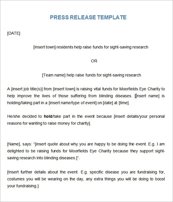 Press Release Template Example