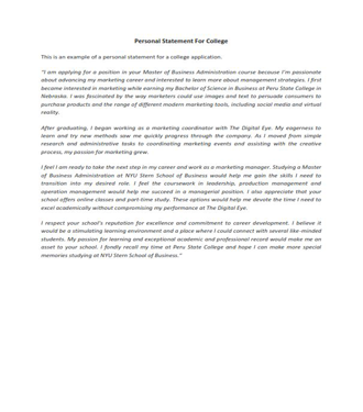 Personal Statement For College (PDF)