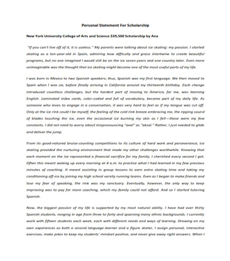 Personal Statement For Scholarship (PDF)