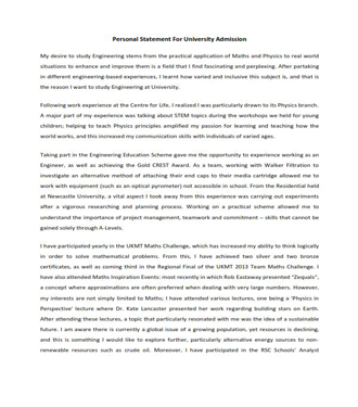Personal Statement For University Admission (PDF)