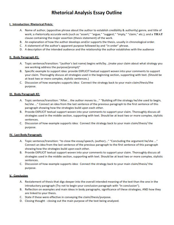 Rhetorical Analysis Essay Outline Sample (PDF)