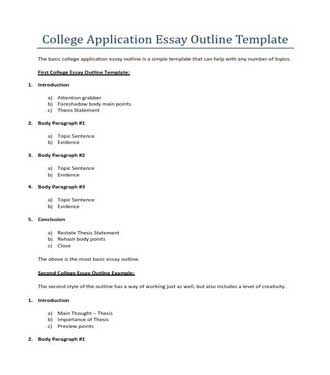 College Application Essay Outline Template (PDF)